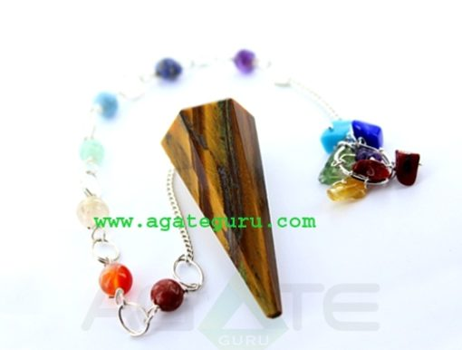 Tiger Eye Faceted Pendulum With Chakra Chain : Wholesale Gemstone Pendulums