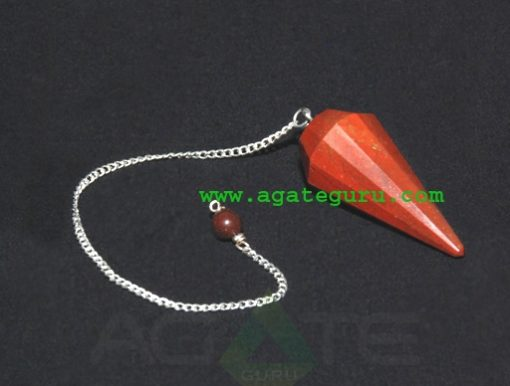 Red jasper Faceted Pendulum With Om Charms : Chakra Pendulum exporter
