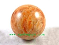 Peach Orange Red Rainbow Moonstone Crystal Stone Sphere Ball