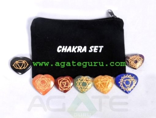Chakra Heart Set Engraved with Reiki Carvings for healing : Wholesaler Manufacturer