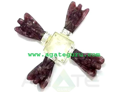 Energy Generator with 4 Lepidolite Angels and Crystal Quartz Pyramid