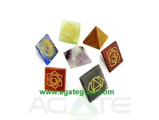 Mix Pyramid Engraved Colourful Chakra set