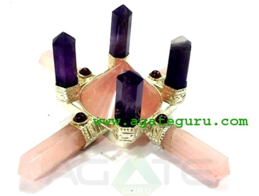Rose Quartz Energy Generator with 4 Amethyst Standing Points