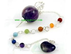 Amethyst Pendulum With Chakra Chain : Wholesale Gemstone Pendulums