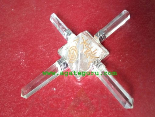 Crystal Quartz Pyramid Energy Generator with Engrave ChoKo Reiki