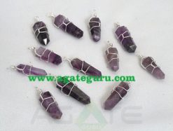 Amethyst Crystal Pendant with Wire Wrapped