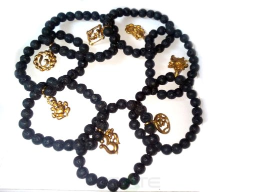 Mix Om Ganesha Lava Beads Bracelets : India wholesaler Manufacturer