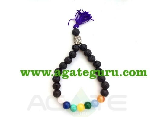 Lava With 7 Chakra With Buddha Braclet