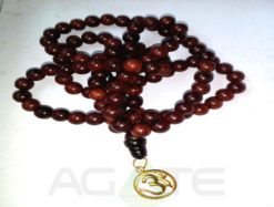 sandal wood beads with golden om jaap mala