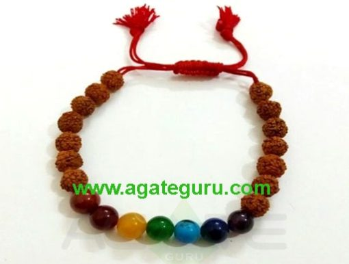 Fency 7 Chakra With Rudraksh Beads Bracelet
