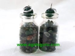 Green Aventurian stone chips Bottle Pendent
