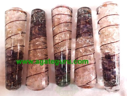 Rose Quartz AMethyst Orgone Massage Wands