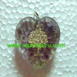 Amethyst Crystal Flower of Life Orgone Stone Pendant