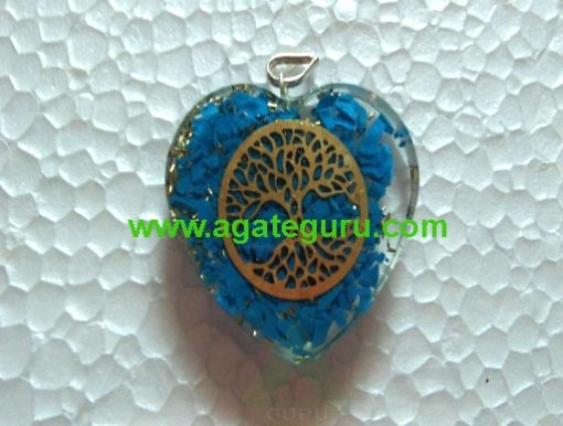 Turquoise Crystal Flower of Life Stone Pendant