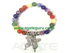 7 Chakra Beads with Butterfly Bracelet