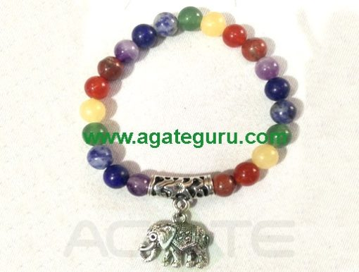 Chakra Beads with Elephant Bracelet