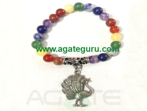 Fency 7 Chakra Beads With Peacock Bracelet