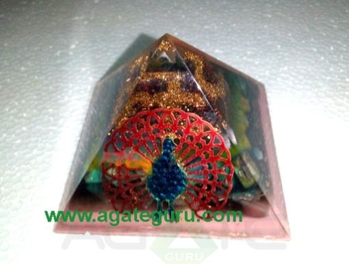 Fency Orgonite Pyramid With Peacock
