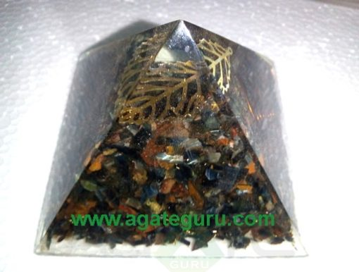 Tiger Eye Black Tourmuline Fency Orgone Pyramid