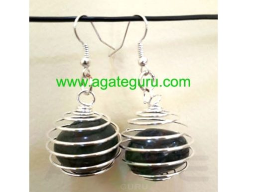 Black Agate Earring Natural Tumbled Stone in a Spiral Bead Cage