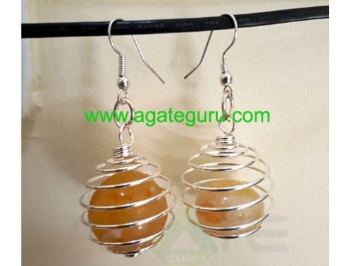 CageTumbled RedCarnelian Stone earring Natural Gemstones