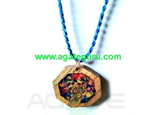 Hand Made Wooden Pendant Sacred Geometry Orgone Necklace
