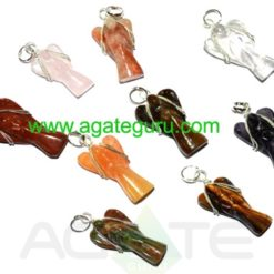 Mix Crystal Wire Wrape Angels Pendents Necklace