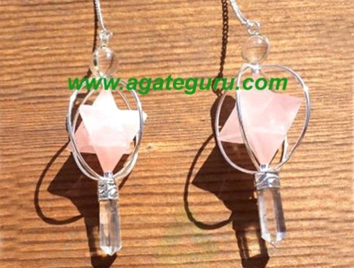 Natural Rose Quartz Gemstone Merkaba Spinning Star Faceted Pendulum