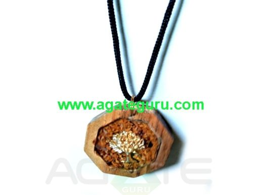 Orgone Handmade Pendant in Wood Flower of Life High Vibrational Crystals in Cherry Wood