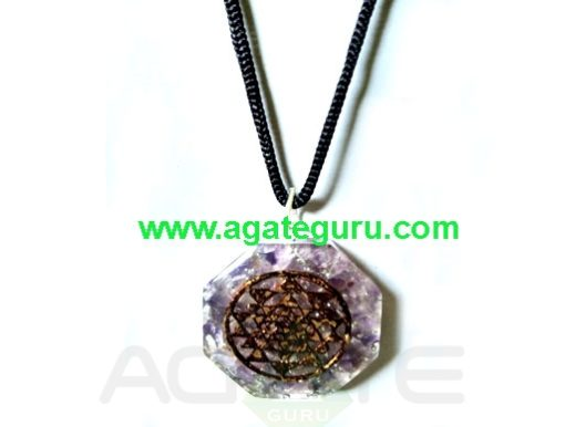 Wholesale Natural Amethyst Crystal Necklace Flower of Life Pendant Necklace
