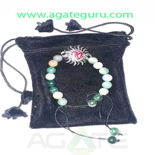 Blood-Stone-Beads-Sun--Om-Charm-Bracelet-With-Pouch