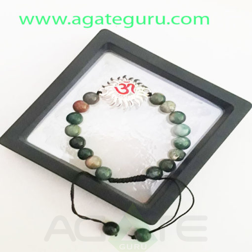 Blood-Stone-Natural-Beads-Om-Charm-Bracelet-With-Box