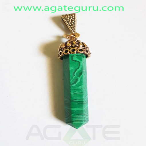 Melachite-Golden-Cap-Pencil-Pendent