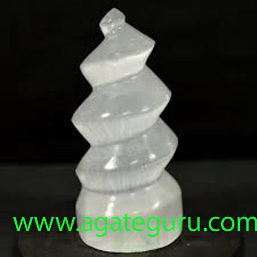 NAtural-Selenite-Curved-Tower