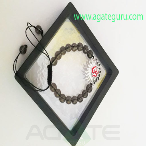 Om-Smoky-quartz-Bracelet-with-Gift-Box