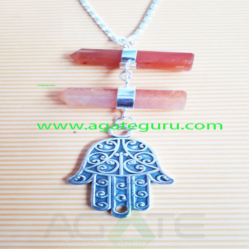 Red-Carnlian-Crystal-Long-Pendent-WIth-Hamsha