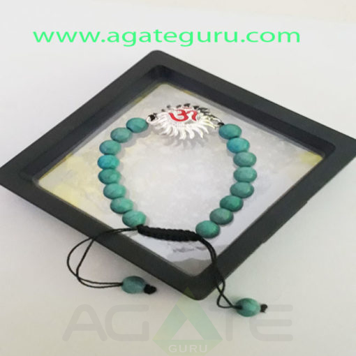Turquoise-Beads-Sun-Om-Charm--Yoga-Bracelet-With-Gift-Box