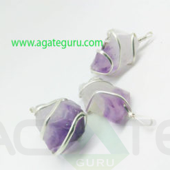 Amethyst-Rough-Wire-Wrape-Pendent