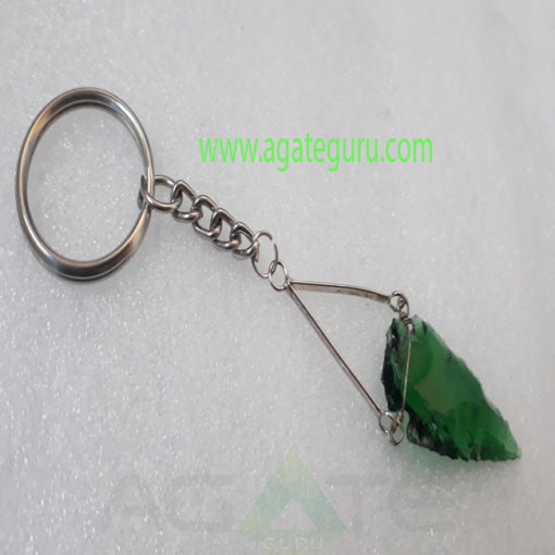 Green-Glass-Arrowhead-Keychain