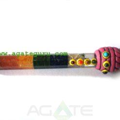 Bonded Chakra Tibetan Healing Stick With Crystal Quartz Ball