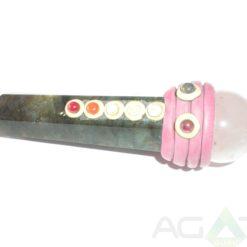 Labrodolite Chakra Tibetan Healing Stick With Rose Quartz Ball