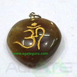 Agate Stone Om Heart Pendent