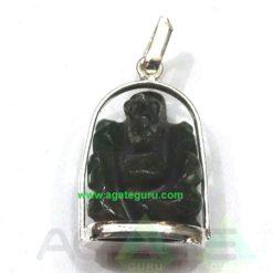 Black Agate Ganesha Metal Pendent