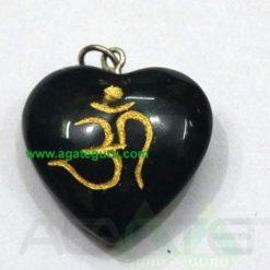 Black Agate Om Heart Pendent