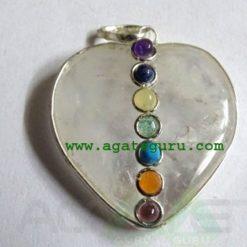 Crystal Quartz Agate 7 Chakra Metal Heart Pendent