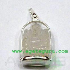 Crystal Quartz Agate Ganesha Metal Pendent