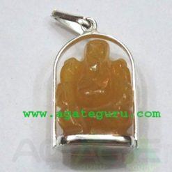 Yellow Agate Ganesha Metal Pendent