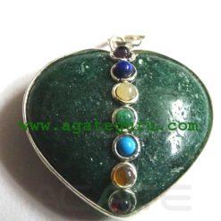 Green Aventurine Agate 7 Chakra Metal Heart Pendent