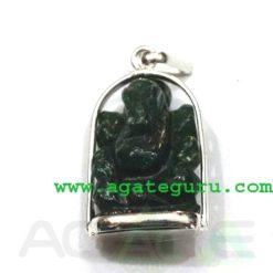 Green Aventurine Ganesha Metal Pendent