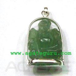 Light Green Aventurine Ganesha Metal Pendent